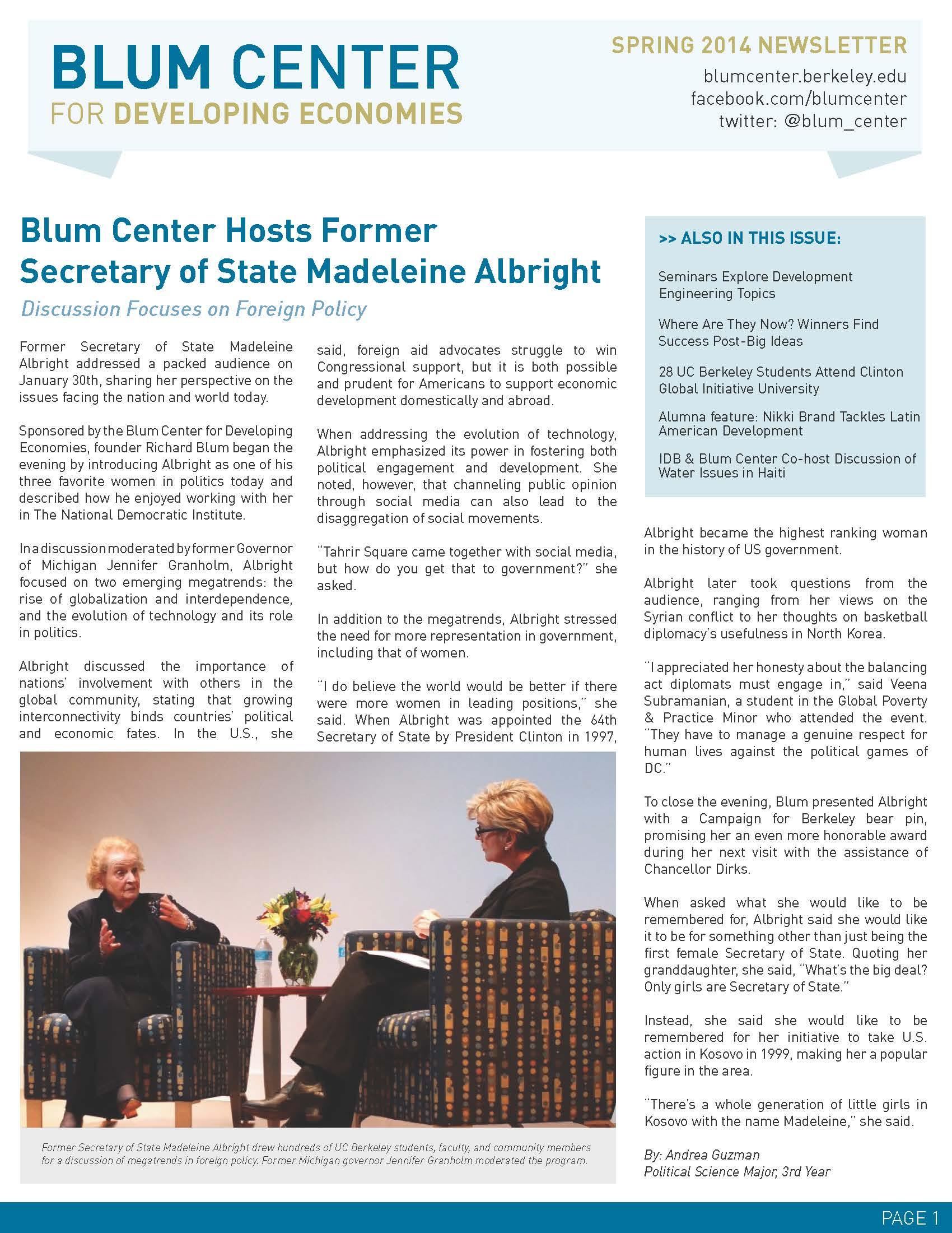 Newsletters   Blum Center