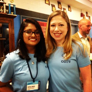 Rajika Jindani and Chelsea Clinton