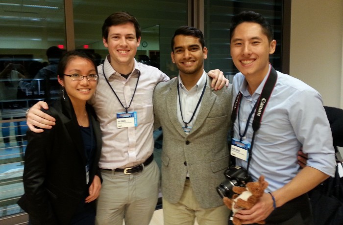 The students behind social impact projects Kanga Kare and Energant took home prizes from CGI-U's Resolution Project Social Venture Challenge pitch competition. Pictured from left to right: Jacqueline Nguyen (Energant) and Ian Shain, Asad Akbany, and Gary Duan (Kanga Kare).