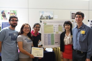 Science Shop team members pose with their first place award certificate from BigIdeas@Berkeley. The team won $7,500 in the 2012-2013 Improving Student Life category.