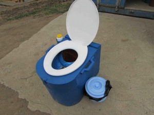 Blue Box: Sanivation installs in-home toilets, called the Blue Box, which have a dry urine diverting system. The waste from the toilets is collected every two weeks