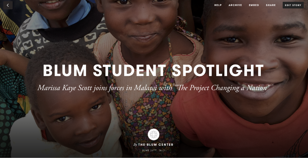 Blum Student and the Project Changing a Nation